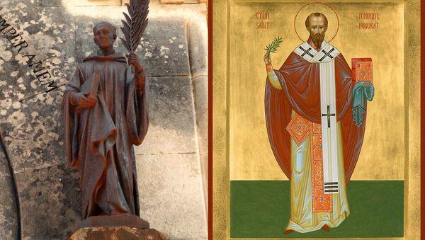 Скульптура і ікона свяціцеля Ганарата Арльскага - Sputnik Беларусь