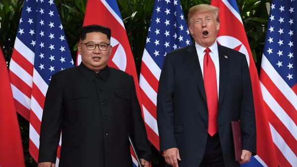Ким Чен Ын и Дональд Трамп - Sputnik Беларусь
