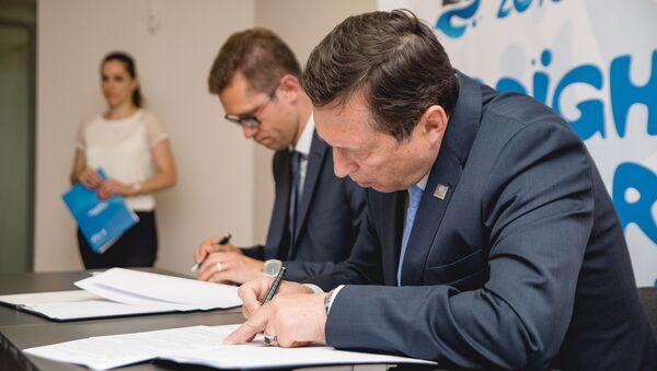 Подписание договора о бесплатном интернете во время Европейских игр-2019 - Sputnik Беларусь