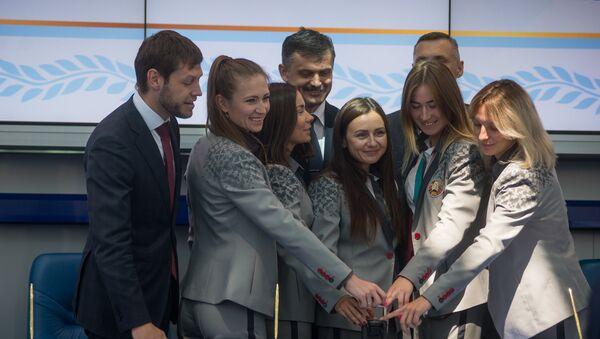 Гашение марки олимпийскими чемпионками - Sputnik Беларусь