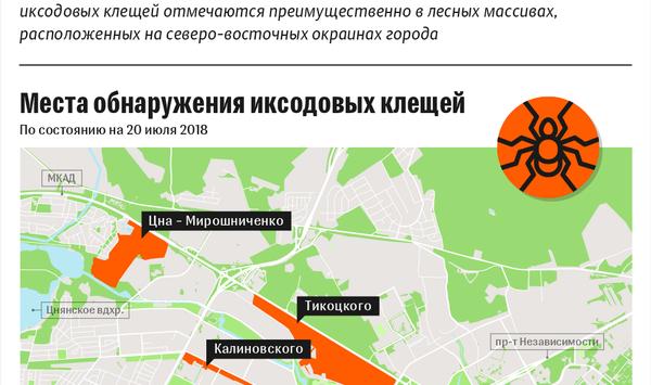 Карта распространения клещей в минских лесопарках – инфографика на sputnik.by - Sputnik Беларусь