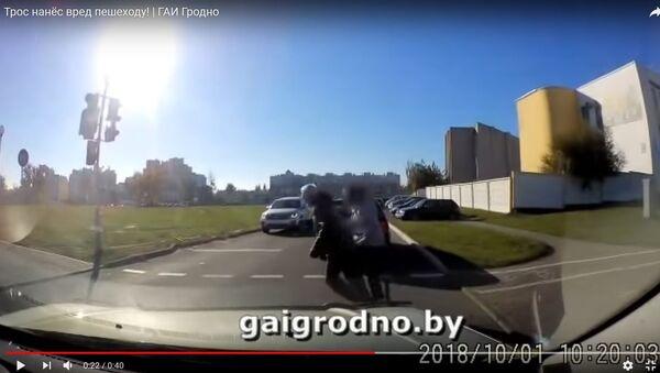 Переход, трос, перелом: ГАИ опубликовала видео необычного ДТП - Sputnik Беларусь