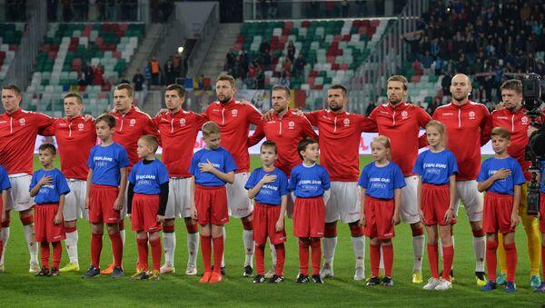 Команда Беларуси во время исполнения гимна - Sputnik Беларусь
