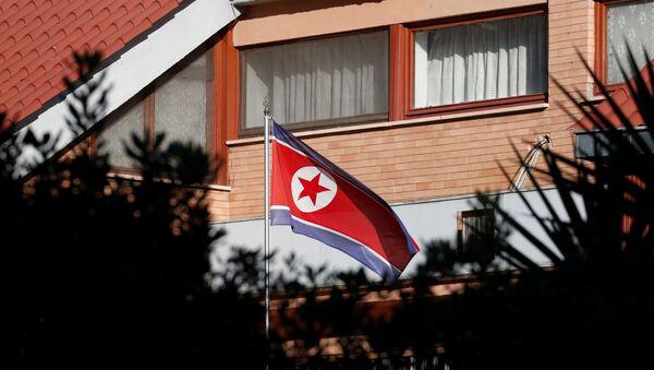 Флаг Северной Кореи возле посольства в Риме - Sputnik Беларусь