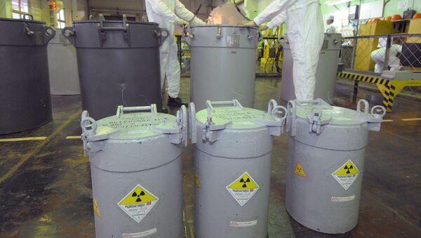 Сотрудники транспортно-упаковочного комплекса на предприятии по хранению и переработке отработанного ядерного топлива - Sputnik Беларусь