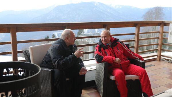 Президент РФ Владимир Путин и президент Беларуси Александр Лукашенко общаются после катания на лыжах - Sputnik Беларусь