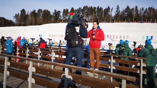 На трибунах работают журналисты - Sputnik Беларусь