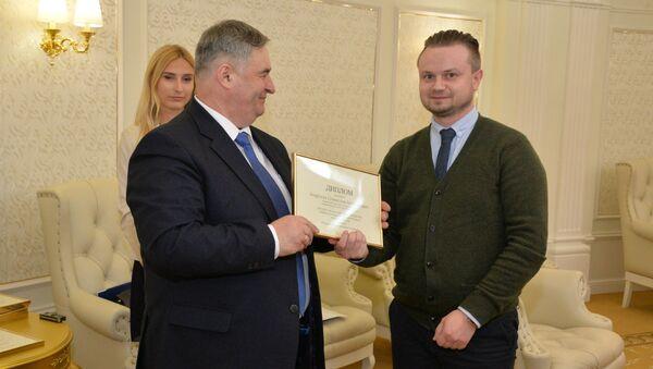Спецыяльны карэспандэнт Sputnik Беларусь Станіслаў Андросік атрымаў дыплом у намінацыі Лепшы аўтар інтэрнэт-выдання - Sputnik Беларусь