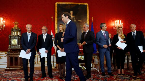 Президент Австрии Александер Ван дер Беллен и канцлер Себастьян Курц - Sputnik Беларусь