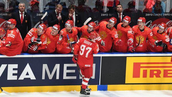 Игроки сборной России в матче 1/4 финала чемпионата мира по хоккею - Sputnik Беларусь