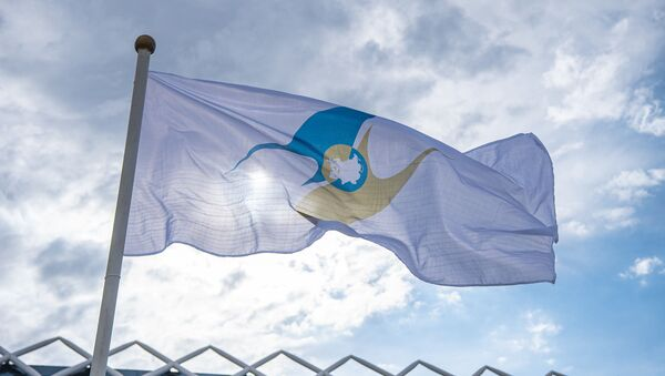 Сцяг з сімволікай Еўразійскага эканамічнага саюза (ЕАЭС) - Sputnik Беларусь