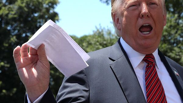 Президент США Дональд Трамп держит копию соглашения с Мексикой - Sputnik Беларусь