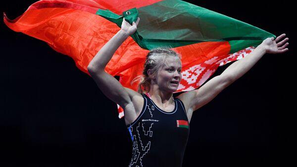 Ирина Курочкина (Белоруссия), завоевавшая золотую медаль в соревнованиях по вольной борьбе среди женщин в весовой категории до 57 кг на II Европейских играх в Минске - Sputnik Беларусь