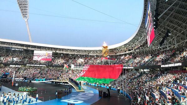 Большой флаг Беларуси на стадионе Динамо - Sputnik Беларусь