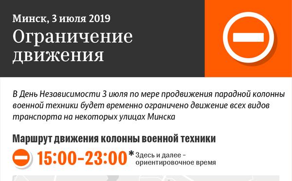 Схема движения парадной колонны военной техники в Минске 3 июля 2019   Инфографика sputnik.by - Sputnik Беларусь
