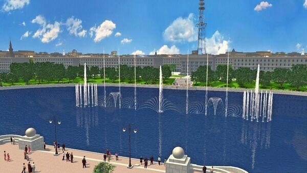 Мультимедийный светомузыкальный фонтан, подаренный Минску Сбербанком - Sputnik Беларусь
