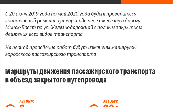 Схемы движения пассажирского транспорта в объезд закрытого путепровода на ул. Железнодорожной - Sputnik Беларусь