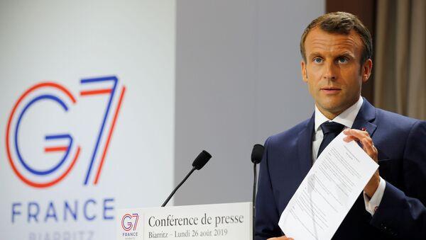 Президент Франции Эммануэль Макрон на совместной пресс-конференции по итогам саммита G7 - Sputnik Беларусь