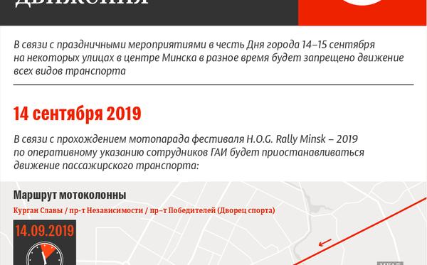 Ограничение движения транспорта в Минске 14–15 сентября 2019 | Инфографика sputnik.by - Sputnik Беларусь