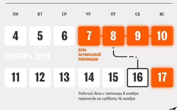 Календарь переносов рабочих и нерабочих дней на ноябрьские праздники 2019 года в Беларуси - Sputnik Беларусь