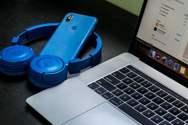 Синие аксессуары для компьютера и смартфона - Sputnik Беларусь