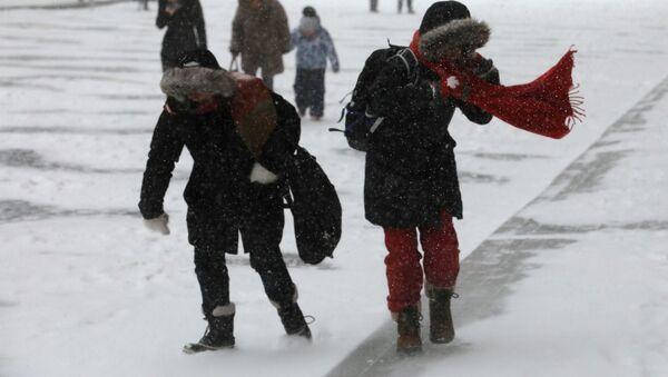 Прохожие во время снегопада - Sputnik Беларусь