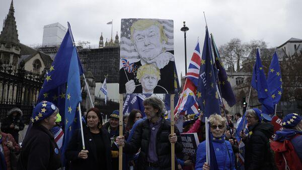 Противники Brexit указывают на марионеточную политику Джонсона и в визите Майка Помпео за день до выхода страны из ЕС видят прямое подтверждение этому - Sputnik Беларусь