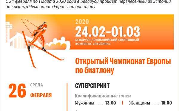Чемпионат Европы по биатлону и этап Кубка IBU – 2020 в Раубичах   Инфографика sputnik.by - Sputnik Беларусь