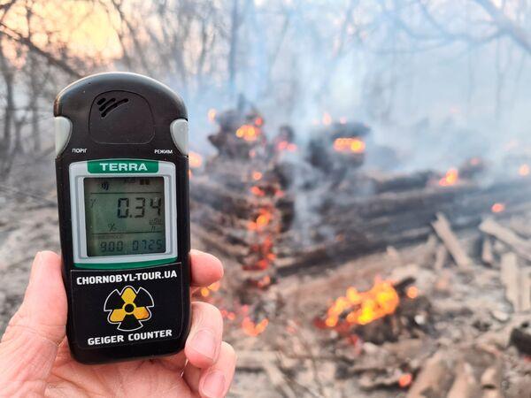 Счетчик Гейгера показывает уровень радиации неподалеку от села Раговка - Sputnik Беларусь