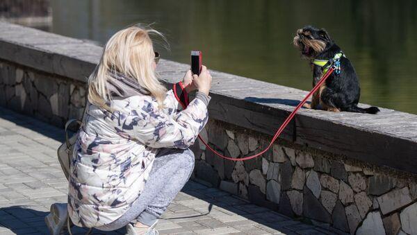 Девушка фотографирует собаку - Sputnik Беларусь