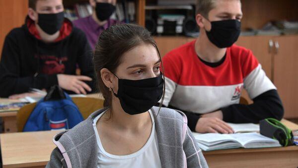 Вучні ў ахоўных масках на занятках, архіўнае фота - Sputnik Беларусь